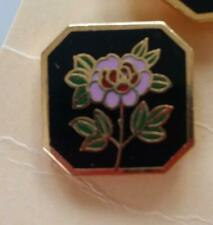 """CLOISONNE PINK & RED ROSE SQUARE SHANK VINTAGE BUTTONS by E. Duerr 5/8"""" (B18)"""