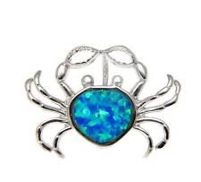 Sterling Silver Slide Pendant Rhodium Inlay Opal Hawaiian Crab Solid 925