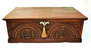 17th/18th Century Oak Bible Box with Carved Decoration + Lock & Key