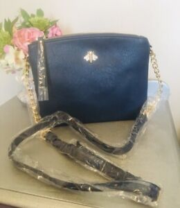 Ladies Navy Blue Double Zip Bee Messenger Crossbody Faux Leather Bag Handbag