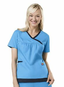 NEW WOMEN MARY ENGELBREIT DESIGNER M3123 UNIFORM Y NECK TRIMMED SCRUB TOP XS - L