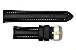 Genuine Luminox F-22 Raptor 9241 24mm Black Leather watch Band W/Silver Stitches