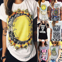 Women Summer Short Sleeve T-Shirt Top Print Casual Loose Hippie Basic Tee Blouse
