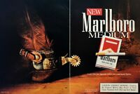 1991 Marlboro Medium Cigarettes Cowboy Boot Vintage Color Photo Print Ad