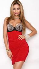 Damen Minikleid Kleid Spikes Nieten Stacheln Robe Dress Partykleid Glitzer Gogo
