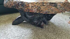 Antique Burl Redwood Coffee Table Live Edge Root Artisan Burlwood Gnarly Knot