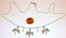""" Silver Plate-#867 Angel Charm Necklace-Angels,Crystals- White-20"