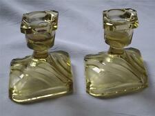 Pair of Pale Amber Glass Candle Holders Diamond Shaped Base Frosted Stripes