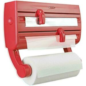 Leifheit Parat F2 Wall-Mounted Roll Holder - With Storage Shelf For Spices - Red