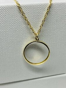 """Genuine 9ct Yellow Gold Half Sovereign Pendant Mount Necklace 18"""" New"""