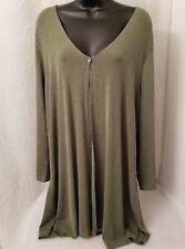 Carolyn Strauss Womens Green One Button Shirt Top Blouse Size 3X
