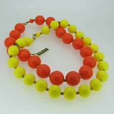 Vintage Yellow and Orange Genuine Lucite Beaded Necklaces