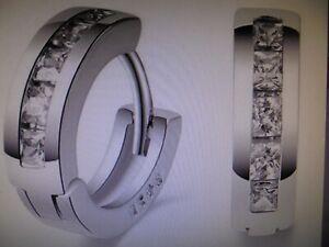 925er Creolen Sterling- Silber- Ein Paar Ohrringe  mit Strass- Steinen!