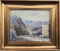 Impressionist JN Monogramm Alpenlandschaft Pass Straße 24,5 x 28,5 cm