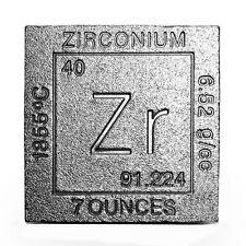 Pure .992 Fine Zirconium Bullion - 7oz Square/Cube - Collectable Element Design