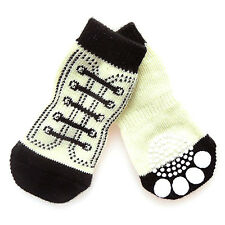 4 X Pet Dog Sneakers Shoelace Pattern Non-slip Paws Socks Cover Shoes S-XL POP