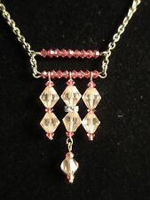 Crystal Necklace Shades of Pink Hand Wired Artisan Original Silver Tone New