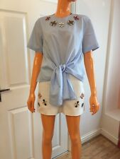 Zara Woman Blue & Cream Jewelled Top And Shorts Co-ordinates Size XS