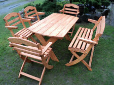 6 Folding chairs and Table wooden garden furniture HALF PRICE