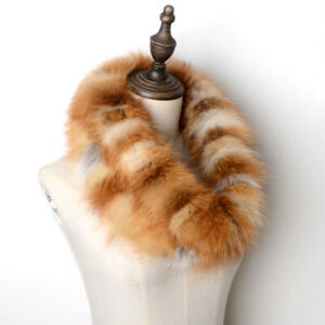 Real Fox Fur Scarf Winter Warm Ring Neckerchief Women Two Rows Handmade