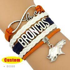 Denver Broncos Bracelet Nfl Football Charm Suede Leather Fast Ship Usa