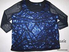 DENIM 24/7 Black Blue SEQUINED Top Shirt Womens PLUS 2X 26W 28W SEXY Holiday