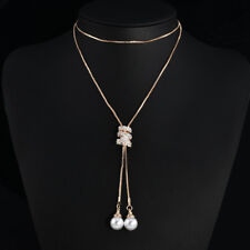 Women Charm Plated Alloy Tassel Pendant Rhinestone Long Chain Sweater Necklace