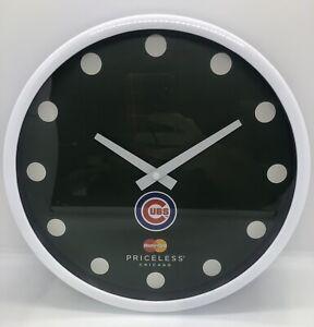 "CUBS Mastercard Priceless Chicago Green White Plastic 9"" Round Wall Clock NIB!!"