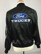 Vtg Ford Trucks Nylon Satin Jacket Black Automotive Car Snap Coat USA Men Medium