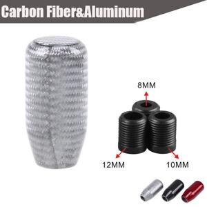 Universal Car SUV Manual Gear Shift Knob Shifter Straight Silver Carbon Fiber