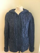 Brand New Blue Grey Ness Hooded Woolly Cardigan Size XS Extra Small Ladies Woman