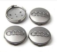 4 Cache Moyeu Centre de Roue Audi 60mm Gris Jantes Logo Emblème 4B0601170