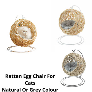 Cat Egg Chair Natural / Grey Rattan Hanging Pod Stylish Quirky ✔️ BRAND NEW ✔️
