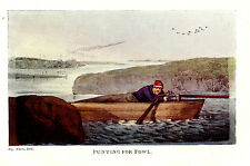 PUNTING FOR FOWL, WATERFOWL HUNTING, PUNT GUN GUNNING ALKEN PRINT 1903