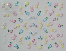 Accessoire ongles nail art Stickers autocollants , fleurs roses, jaunes et bleus