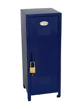 "Blue Mini Metal Locker - Kids Treasure Box - 10.75"" tall - Steel Construction"