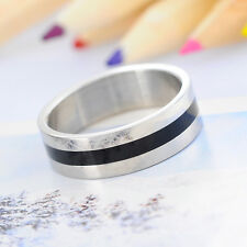 1PC Stainless Steel 6mm Wide Two Tone black Stripe Band Ring US Size 9.5