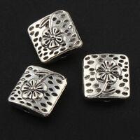 15 Metallperlen 10mm Tibet Silber Quadrat Zwischenteile Spacer für Schmuck F220