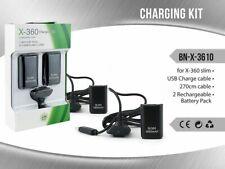 Cavo Ricarica Controller + 2 Batterie Ricaricabili 4800mh Nera Xbox 360 Slim mar