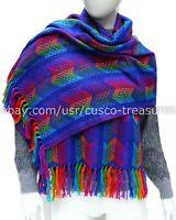 Shawl Rainbow BLUE, peruvian alpaca scarf, alpaca wrap, scarves women, blanket