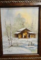 Vintage Signed Eldon Oil Painting on Canvas Landscape Winter Snow Cabin