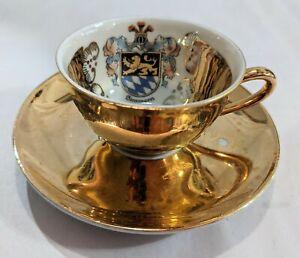 Vintage Bareuther Waldsassen Bavaria Simmern Souvenir Teacup And Saucer