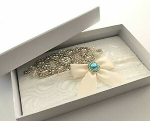 Ivory Bow Lace Bridal Garter Set + Box Diamantes Blue Stones Wedding Toss