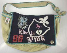 Victoria's Secret Large 100% Cotton Messenger Live in Pink Forever 86 Tote Bag