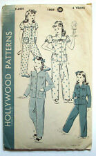 1940's? Hollywood girl's 2 piece pajama pattern size 4 years 1007