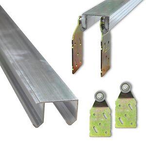 Doppellaufschiene Alu 2m 2,5m 3m + Beschläge - einzeln und Set Schiebetürsystem