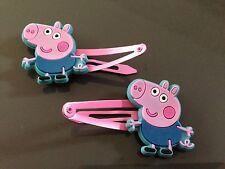 PEPPA PIG girls hair clip (2x snap hairclip) George Pig, Rebecca Rabbit. Party
