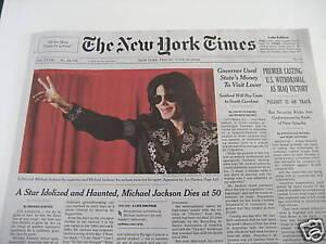 Michael Jackson 1958-2009 Four USA News Paper