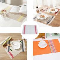 KE_ Anti-slip Dining Table Heat Insulation Striped Mat Tableware Placemat Deco