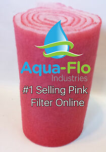"10"" x 10ft ROLL PINK AQUARIUM MEDIA FILTERS PADS FOR KOI PONDS BONDED BIO BALL"